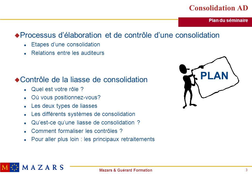 Consolidation AD Plan du séminaire. Processus d'élaboration et de contrôle d'une consolidation. Etapes d'une consolidation.