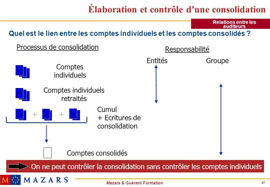 Élaboration et contrôle d une consolidation
