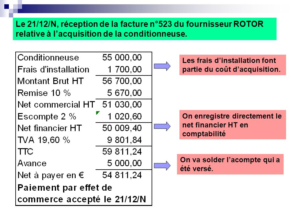 Le 21/12/N, réception de la facture n°523 du fournisseur ROTOR relative à l'acquisition de la conditionneuse.