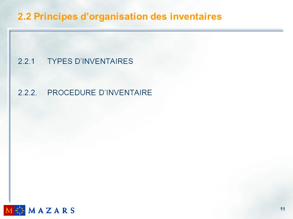 2.2 Principes d'organisation des inventaires