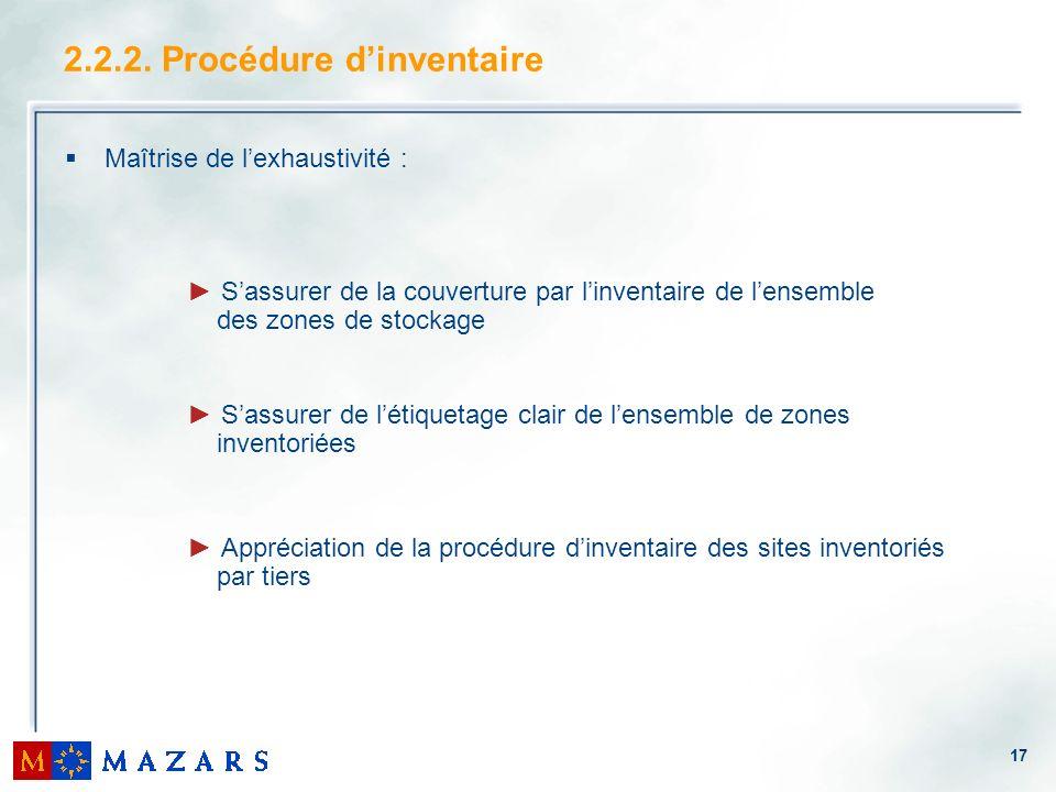 2.2.2. Procédure d'inventaire
