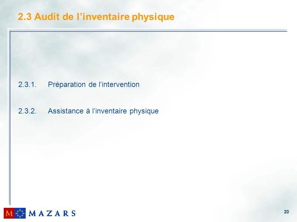 2.3 Audit de l'inventaire physique