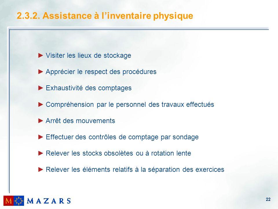 2.3.2. Assistance à l'inventaire physique