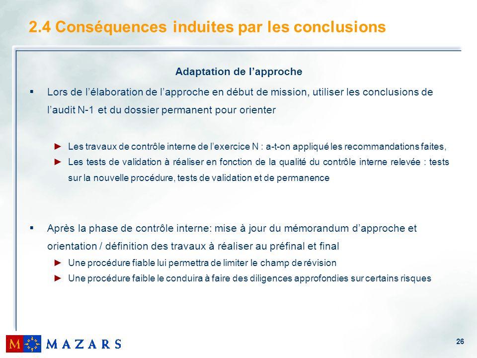 2.4 Conséquences induites par les conclusions