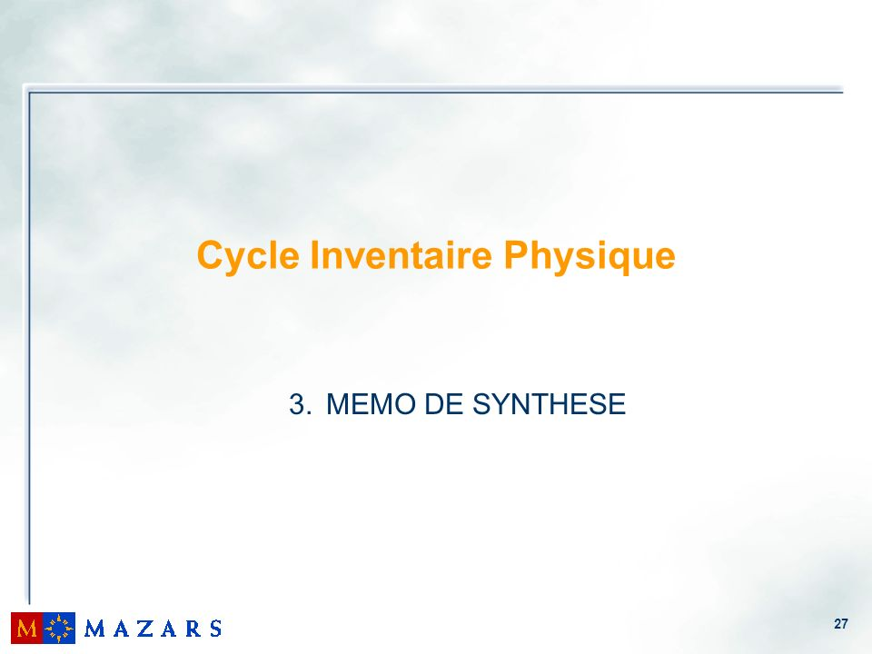 Cycle Inventaire Physique