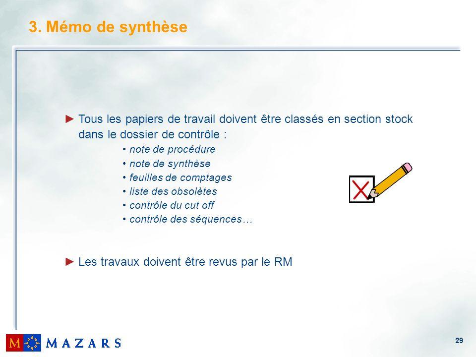 3. Mémo de synthèse Tous les papiers de travail doivent être classés en section stock. dans le dossier de contrôle :