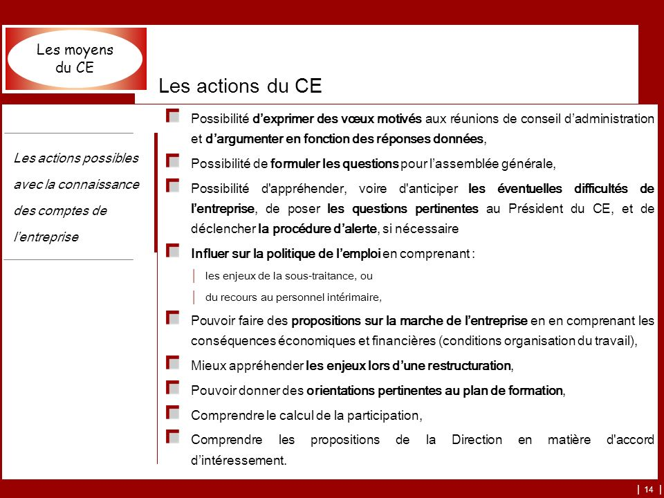 Les actions du CE Les moyens du CE