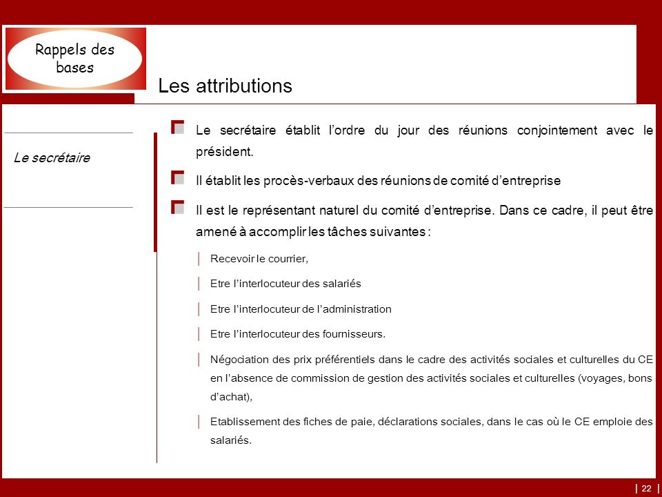 Les attributions Rappels des bases