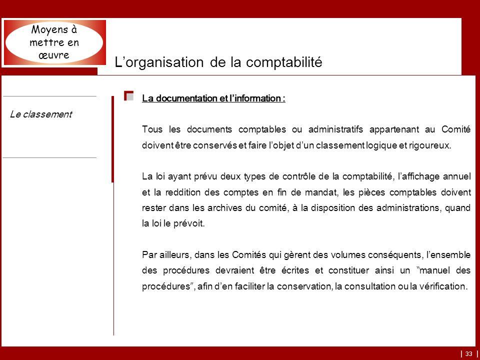 L'organisation de la comptabilité