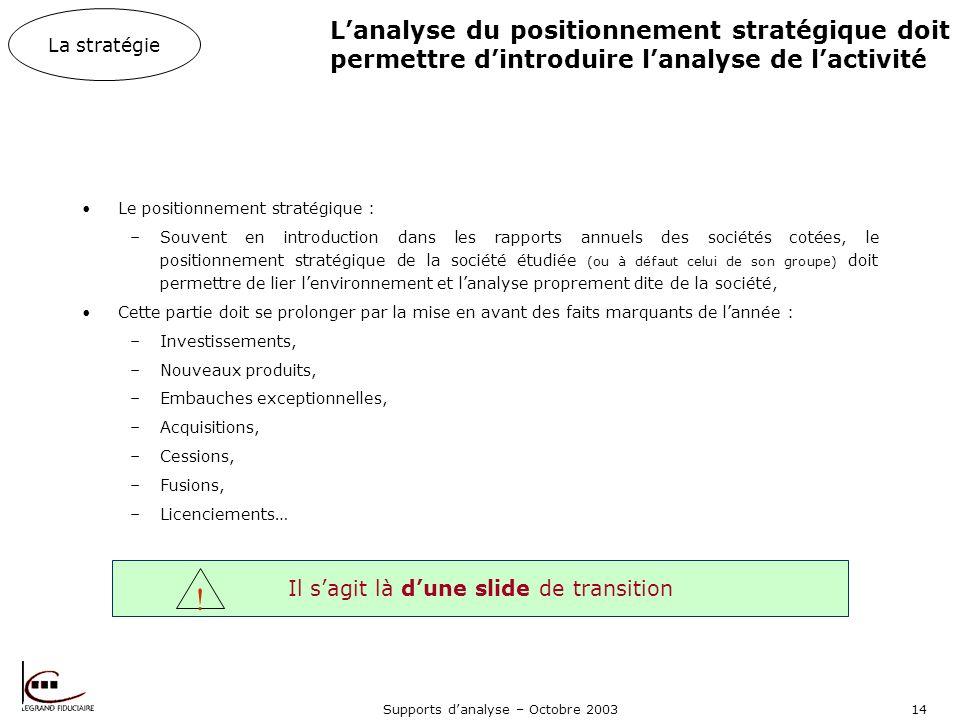 L'analyse du positionnement stratégique doit permettre d'introduire l'analyse de l'activité