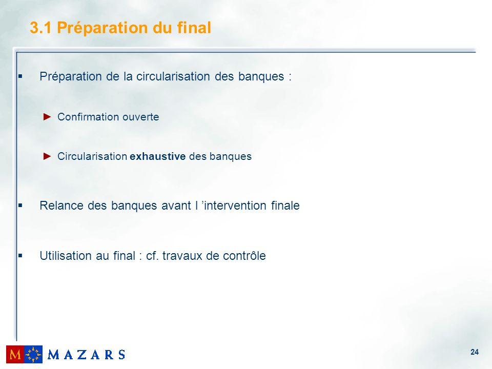 3.1 Préparation du final Préparation de la circularisation des banques : Confirmation ouverte. Circularisation exhaustive des banques.