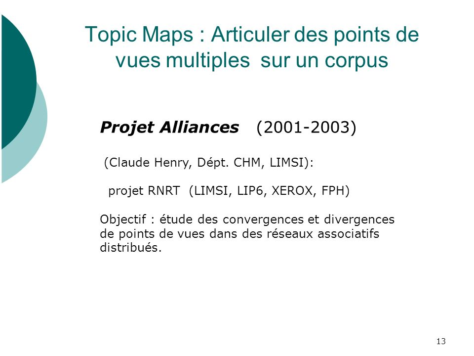 Topic Maps : Articuler des points de vues multiples sur un corpus