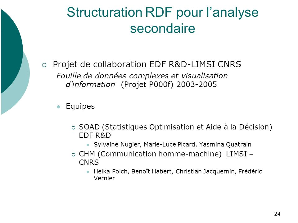 Structuration RDF pour l'analyse secondaire