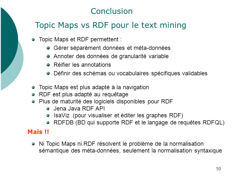 Topic Maps vs RDF pour le text mining