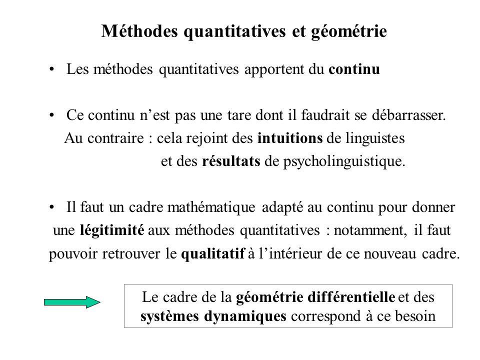 Méthodes quantitatives et géométrie