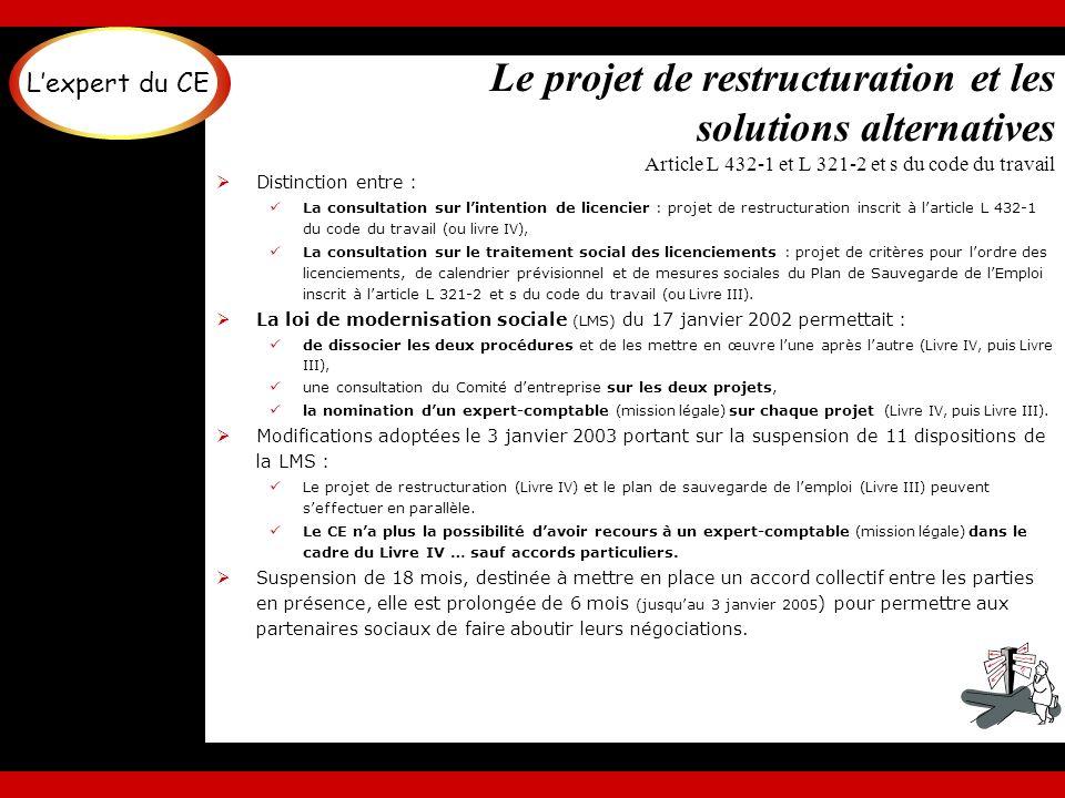 L'expert du CE Le projet de restructuration et les solutions alternatives Article L 432-1 et L 321-2 et s du code du travail.