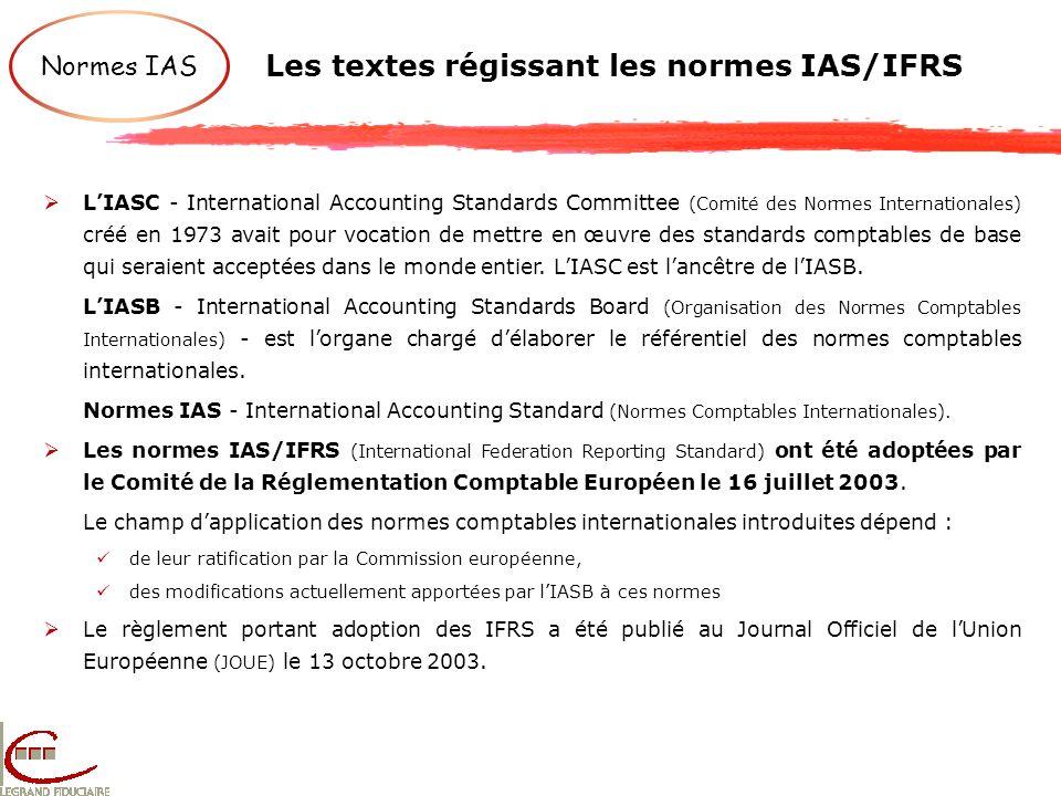 Les textes régissant les normes IAS/IFRS