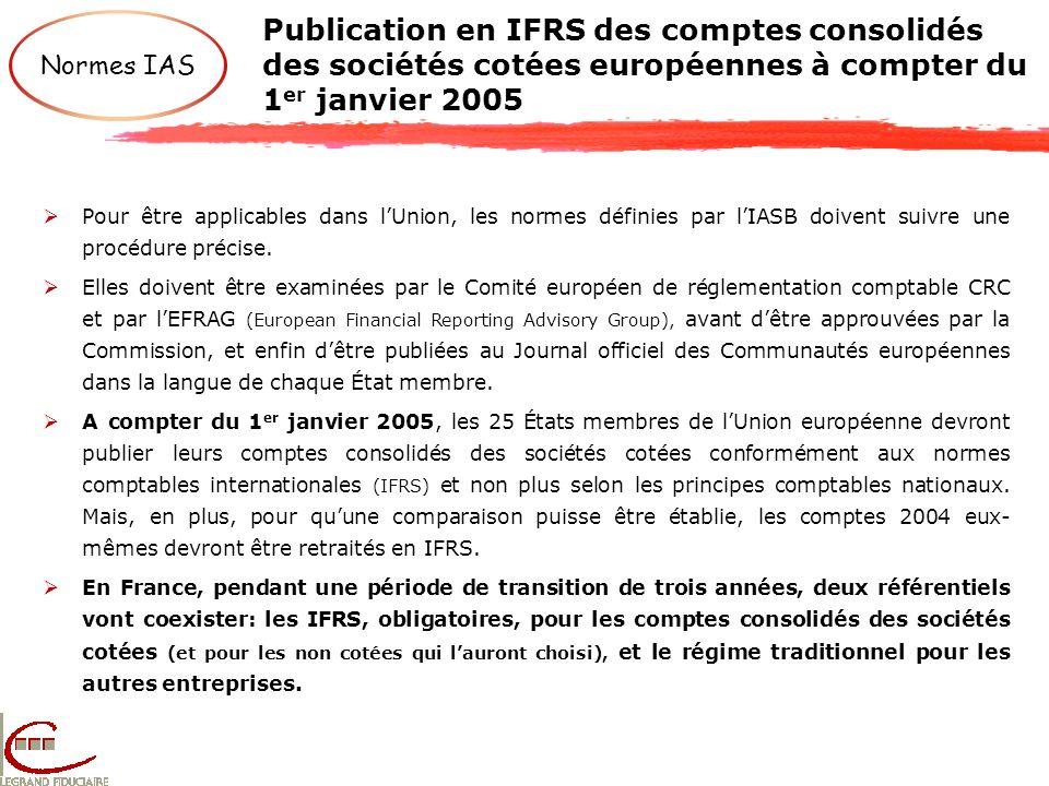 Publication en IFRS des comptes consolidés des sociétés cotées européennes à compter du 1er janvier 2005