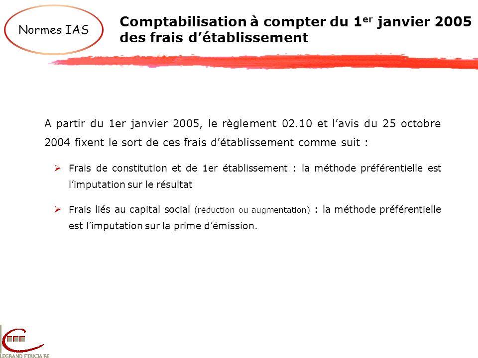 Comptabilisation à compter du 1er janvier 2005 des frais d'établissement