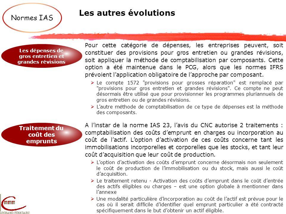Les autres évolutions Normes IAS