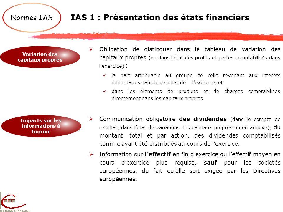 IAS 1 : Présentation des états financiers