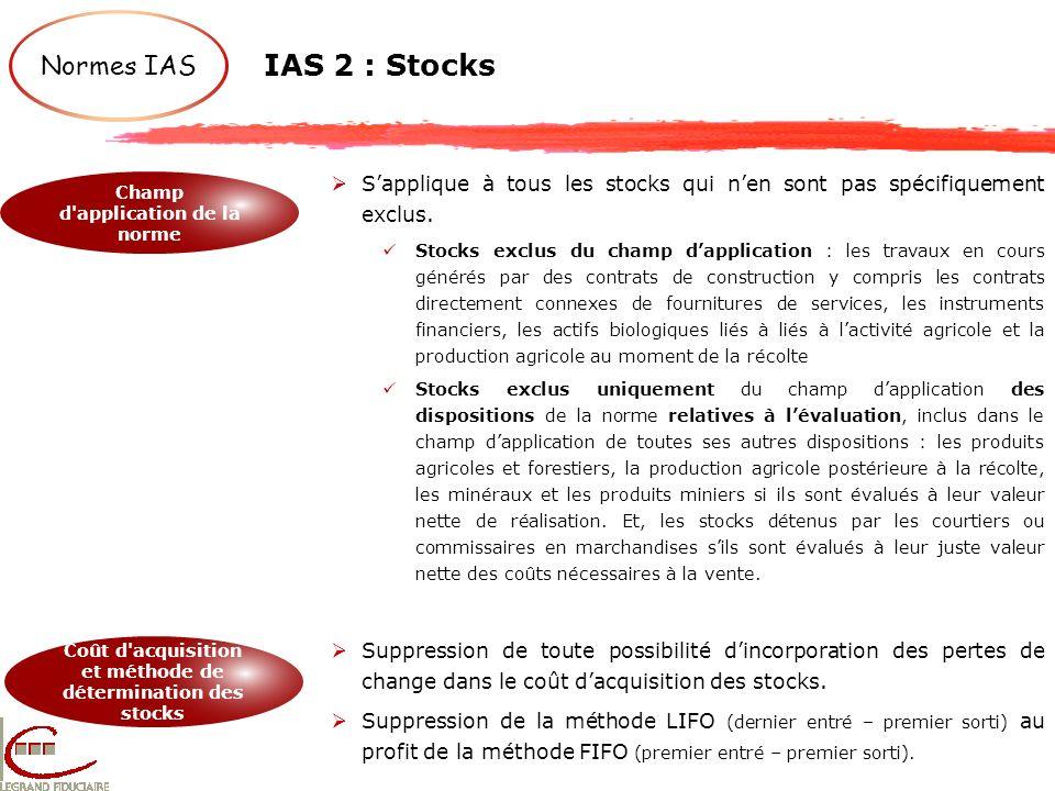 IAS 2 : Stocks Normes IAS. S'applique à tous les stocks qui n'en sont pas spécifiquement exclus.