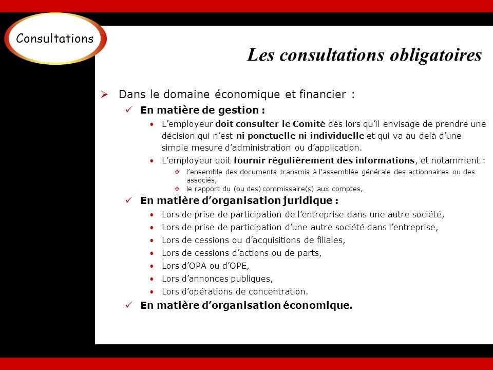 Les consultations obligatoires