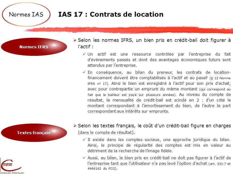 IAS 17 : Contrats de location