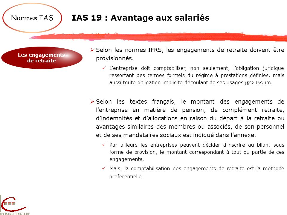 IAS 19 : Avantage aux salariés