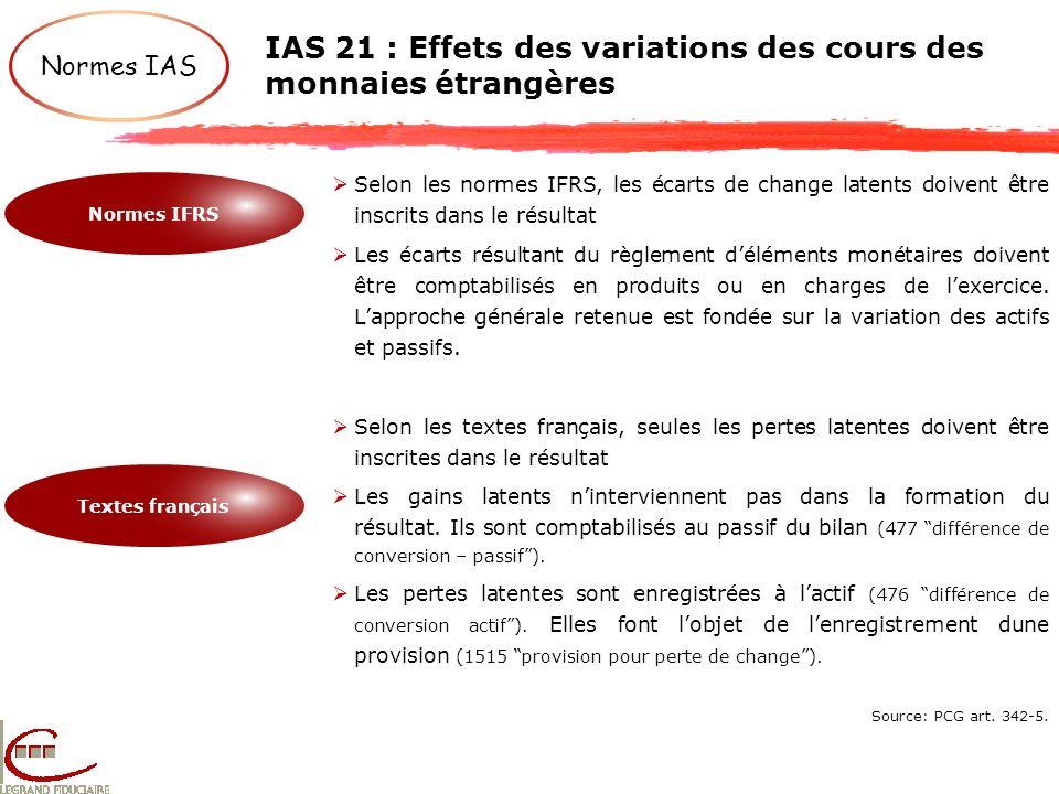 IAS 21 : Effets des variations des cours des monnaies étrangères