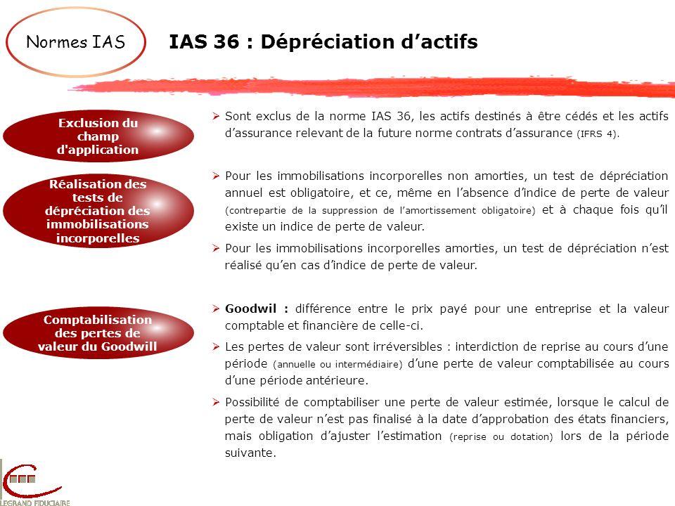 IAS 36 : Dépréciation d'actifs