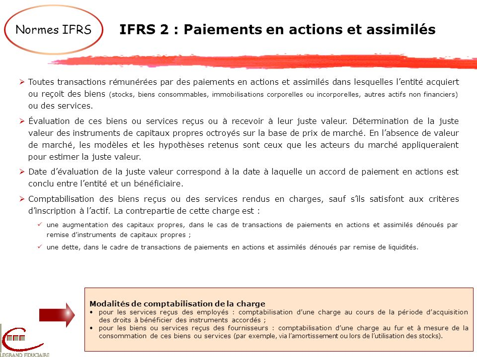 IFRS 2 : Paiements en actions et assimilés