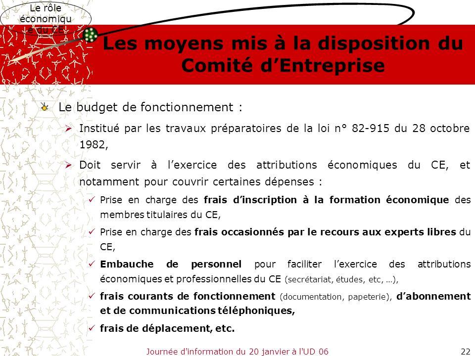 Les moyens mis à la disposition du Comité d'Entreprise