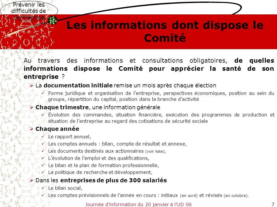 Les informations dont dispose le Comité