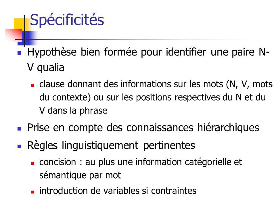 Spécificités Hypothèse bien formée pour identifier une paire N-V qualia.