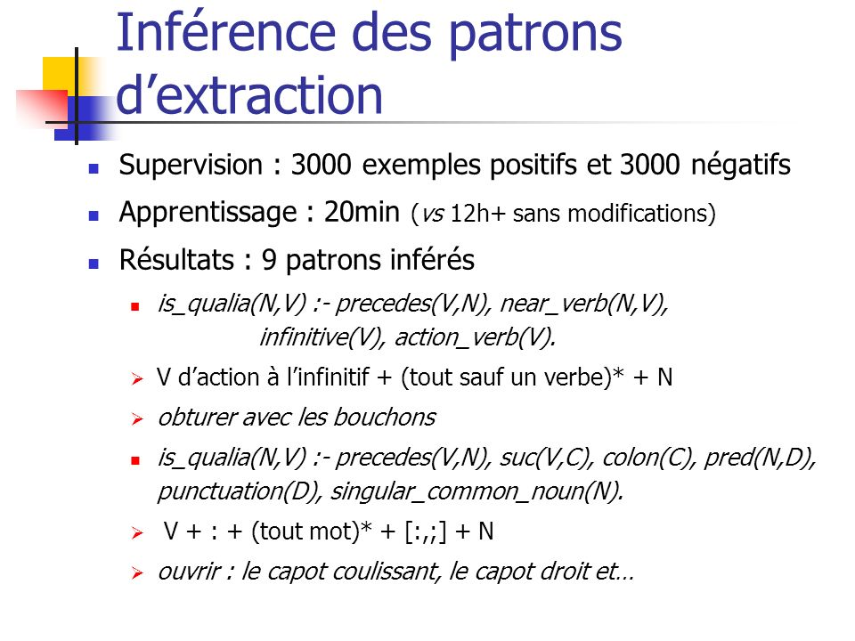 Inférence des patrons d'extraction
