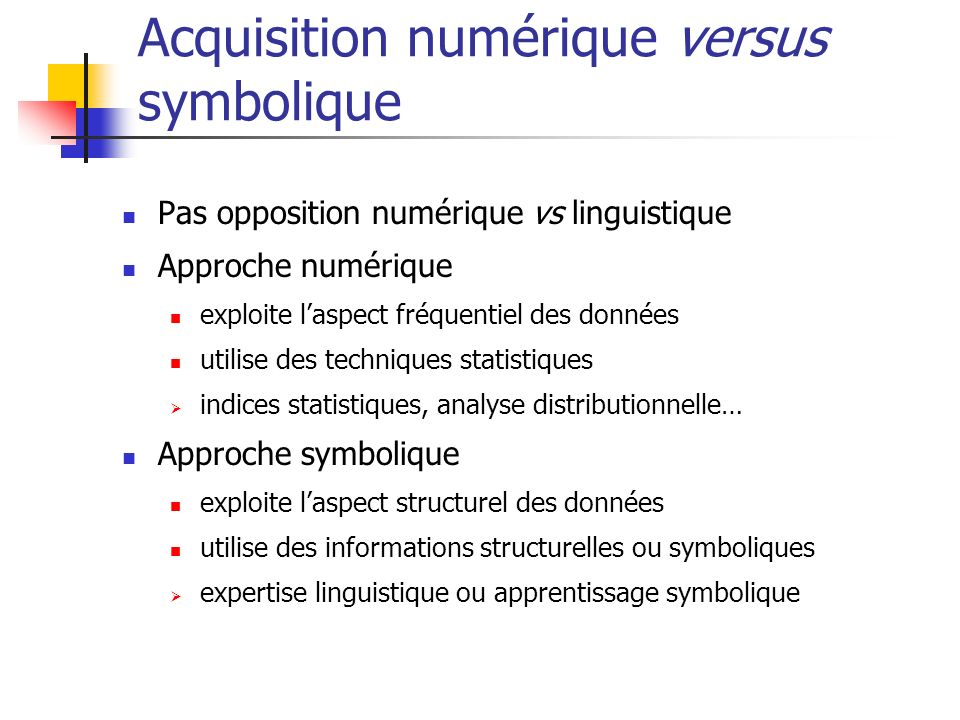 Acquisition numérique versus symbolique