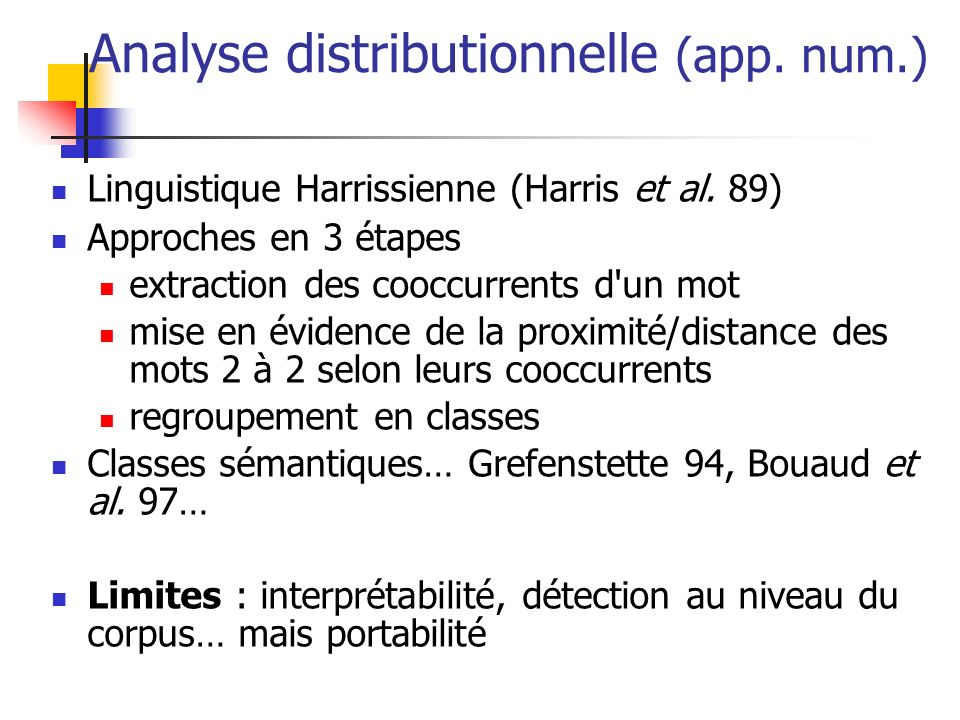 Analyse distributionnelle (app. num.)