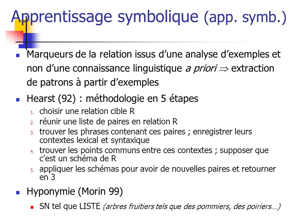 Apprentissage symbolique (app. symb.)
