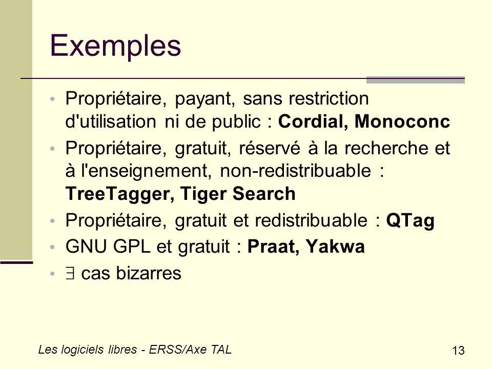Exemples Propriétaire, payant, sans restriction d utilisation ni de public : Cordial, Monoconc.