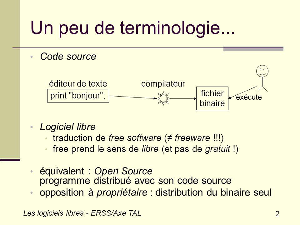 Un peu de terminologie... Code source Logiciel libre