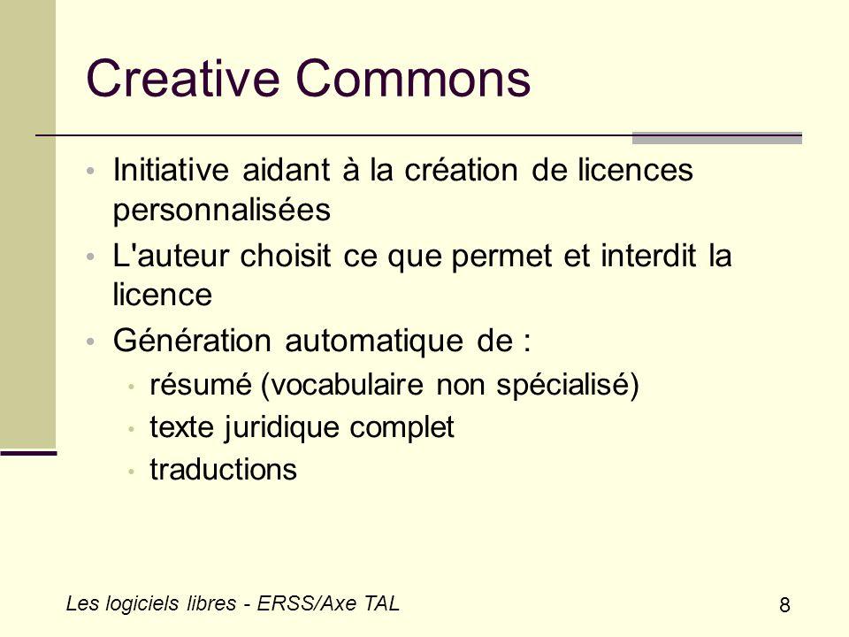 Creative Commons Initiative aidant à la création de licences personnalisées. L auteur choisit ce que permet et interdit la licence.