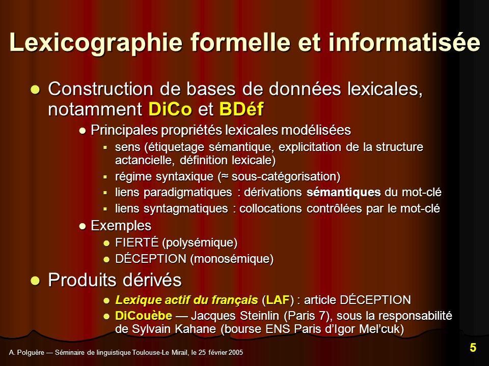 Lexicographie formelle et informatisée