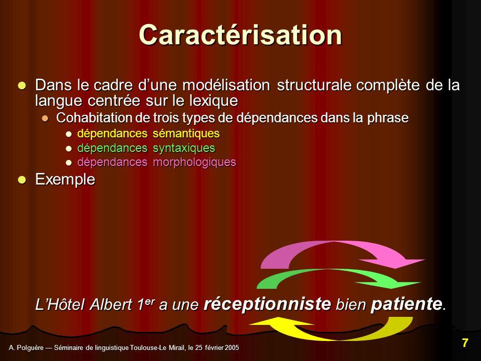 Caractérisation Dans le cadre d'une modélisation structurale complète de la langue centrée sur le lexique.
