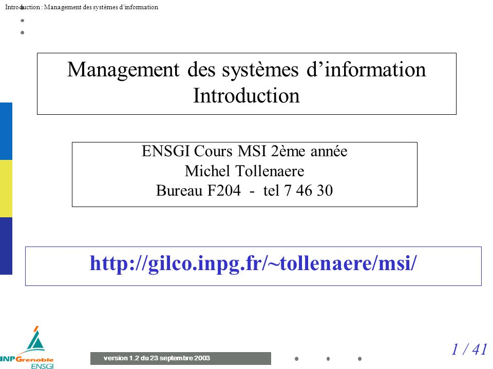 Management des systèmes d'information Introduction