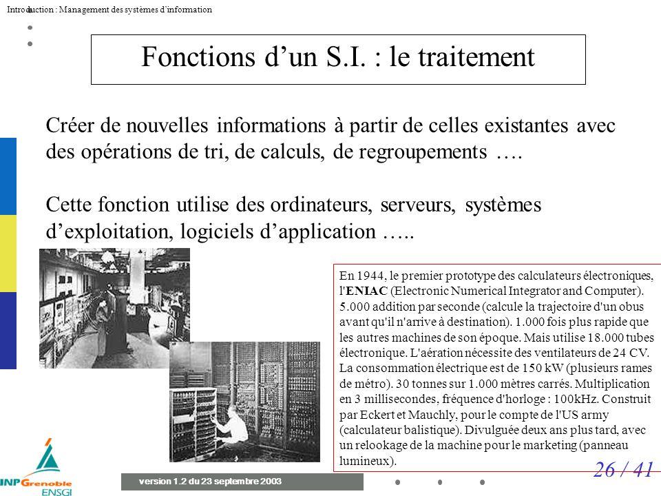 Fonctions d'un S.I. : le traitement