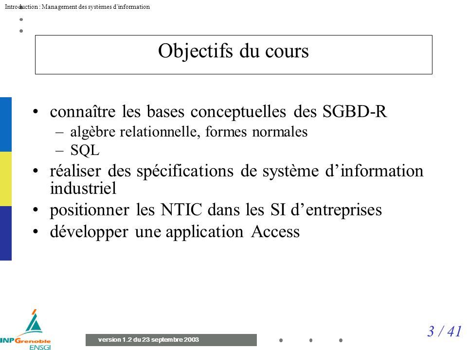 Objectifs du cours connaître les bases conceptuelles des SGBD-R