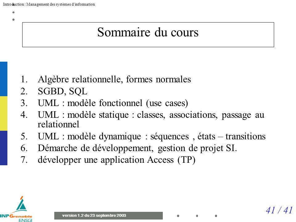 Sommaire du cours Algèbre relationnelle, formes normales SGBD, SQL