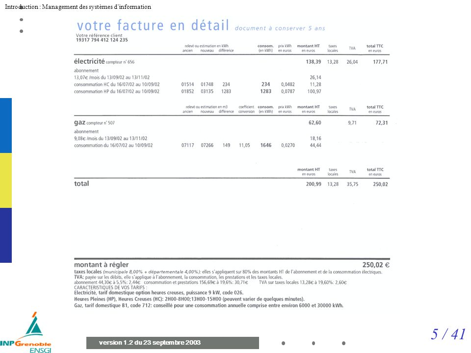 Facture Attention au modèle d interprétation Mauvaise date (cf ORACLE)