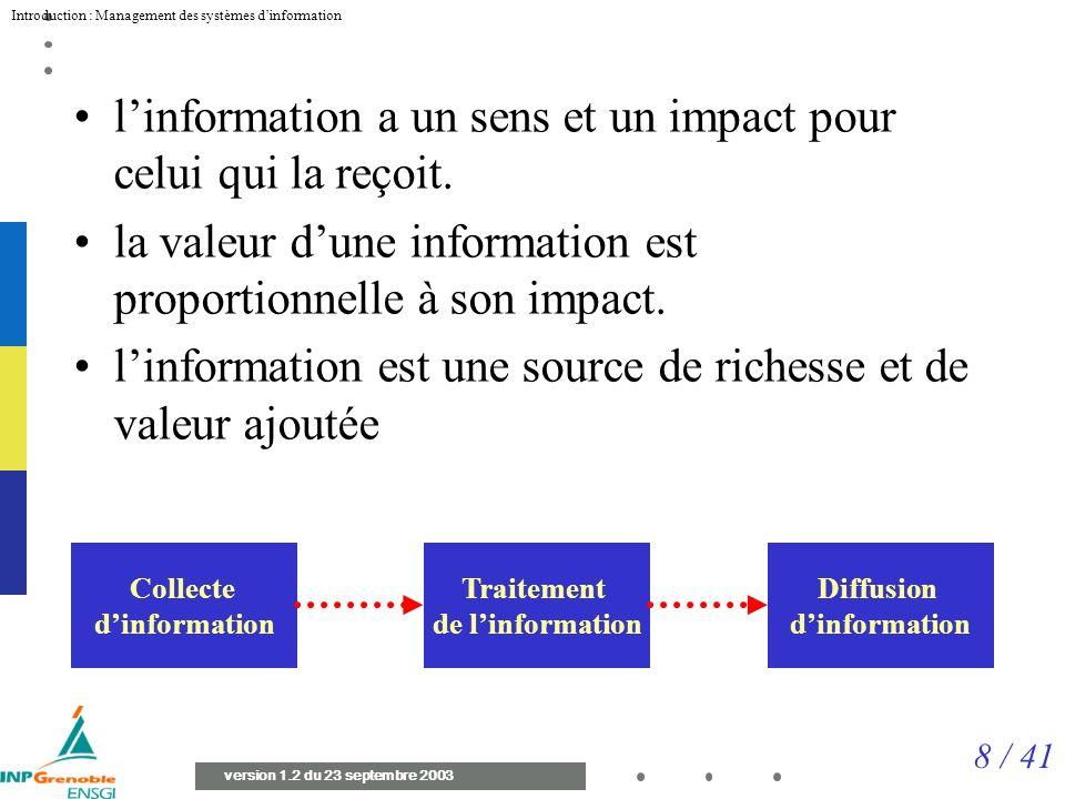 l'information a un sens et un impact pour celui qui la reçoit.